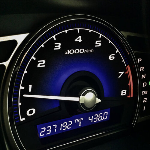 Close-up of a car's odometer.