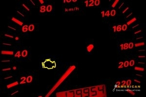 The check engine light is on signalling a need for engine maintenance
