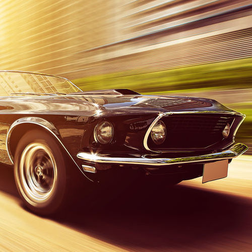 Vintage Car Driving Fast